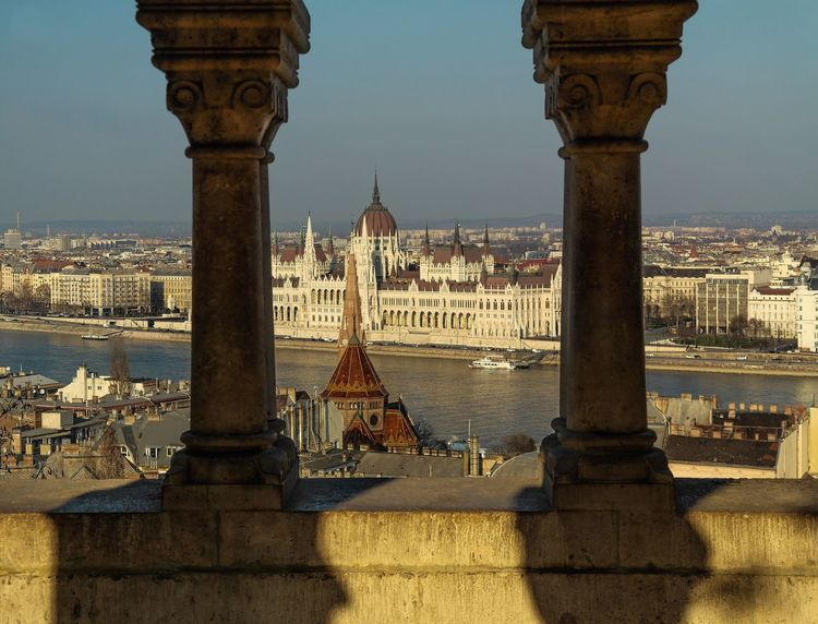 Budapest - March 2016 Shadow Europe Hungary Budapest Architecture Built Structure Building Exterior Travel Destinations Tourism History City Travel Day Outdoors Sky River Cityscape Water Architectural Column Dome No People Sunlight Government
