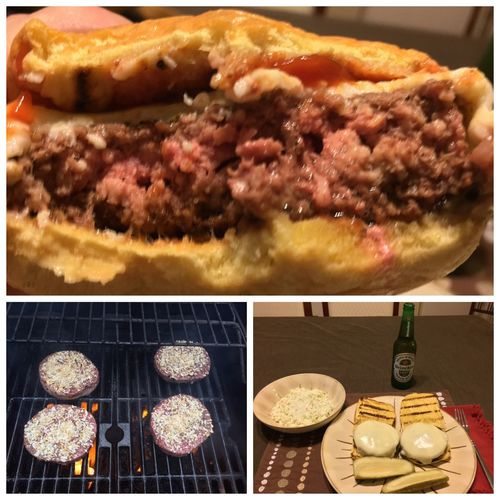 Tonight, I grilled cheeseburgers. Served them with cole slaw and ice cold Heineken Lights. ICanCookMyAssOff ItsAnItalianThing Grilling CheeseBurger Hamburger Nomnombomb MyFoodPics Food Porn Awards Food And Drink Food Porn