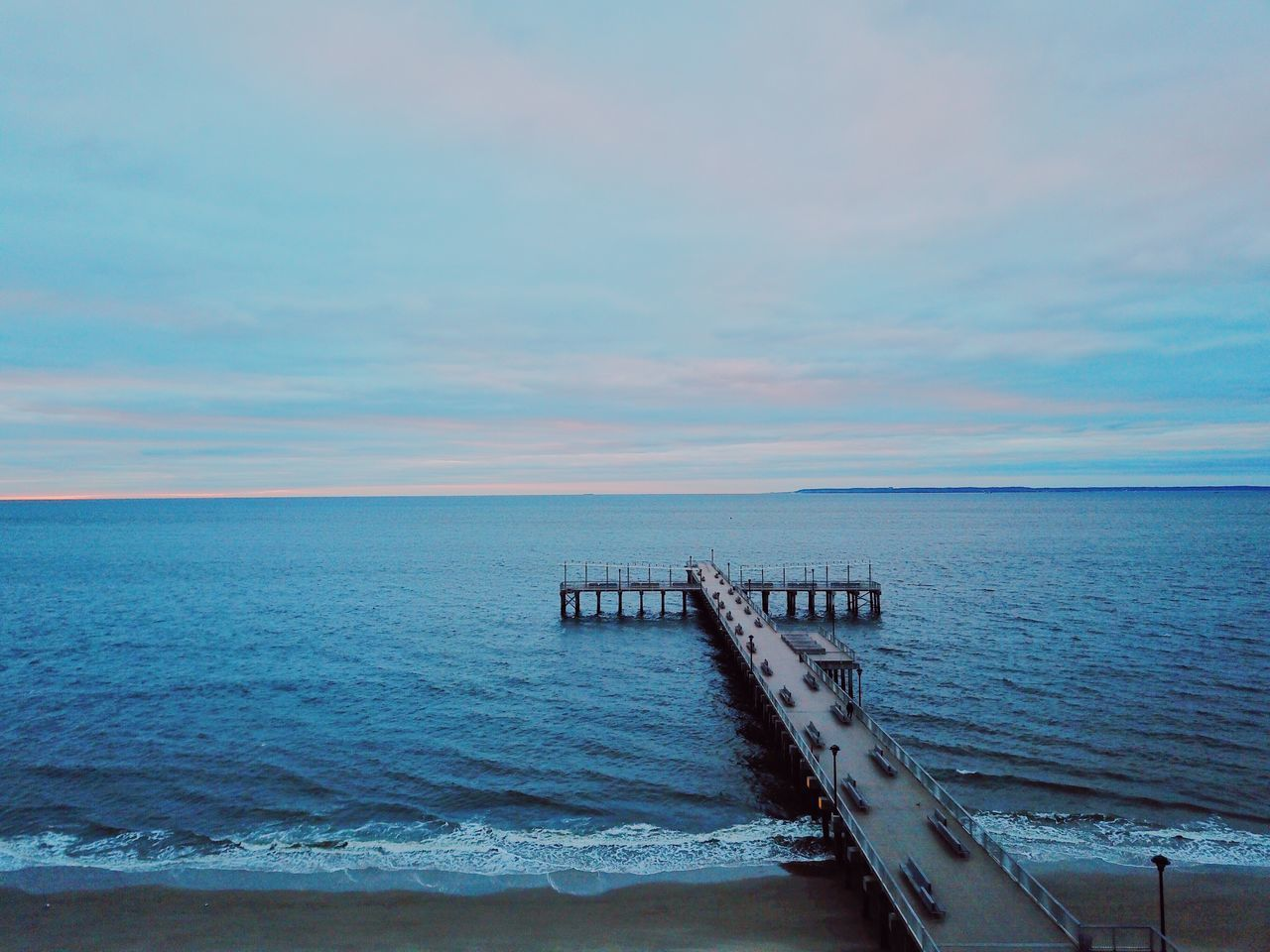 sea, sky, water, horizon, horizon over water, scenics - nature, beauty in nature, cloud - sky, tranquil scene, tranquility, nature, beach, no people, idyllic, land, motion, pier, day, outdoors, wooden post, groyne