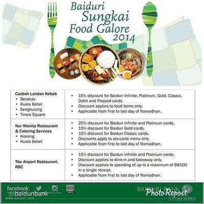 """By @baiduribank """"Don't forget to check the Baidurisungkaifoodgalore hashtag when deciding where to eat for Sungkai2014 :) SAVE with your Baiduricards ! Baiduribank bruneifoodies lovefoodhatewaste"""" via @PhotoRepost_app"""