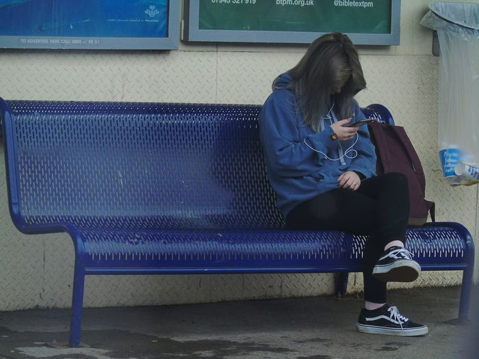 lonely girl with virtual friends One Person Sitting Depression - Sadness Adult Real People Day Mobile Conversations PhonePhotography Communication Mobile Phone Smart Phone Life In Colors Lonely Girl Lonely Lonelyday Bench View Sitting Sitting Pretty Sitting Alone Sitting On A Bench EyeEmNewHere