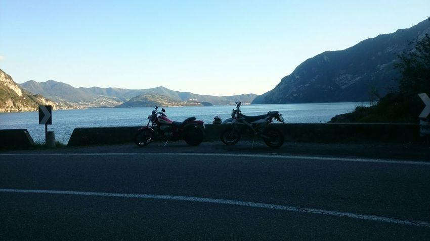 Mountains Water Sunny Day Friends Motorbike Lake