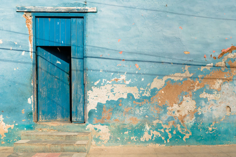 Blue Architecture Blue Building Exterior Built Structure Day Door Façade Lines No People Old Ruined Texture Textured  Traditional Travel Wood - Material
