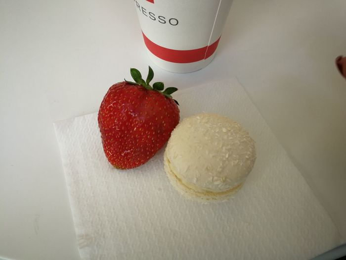 Good Morning Strowberry Macarons Good Coffee Dessert Fruit Red Close-up Food And Drink