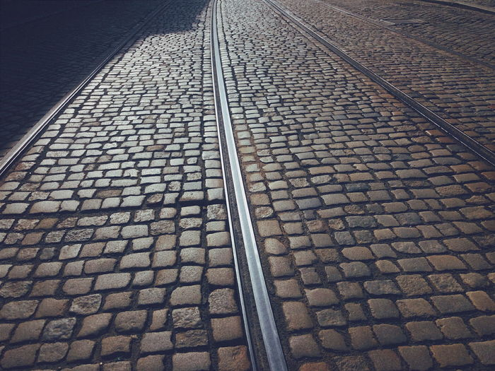 Tramway on cobbled street