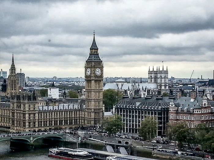 Architecture London Big Ben Boats Thames Westminster Bridge Shot From London Eye Clock Tower Tiny Cars