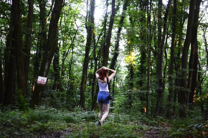 Portrait Portrait Of A Friend Young Woman Outfit Casual Clothing High Waisted Shorts Denim Shorts Ginger Hair Ginger Exploring Nature Exploring Woods Woods Nature Greenery