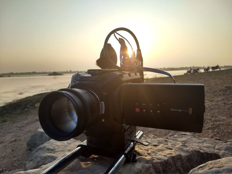 this is black magic camera at shooting location... Pond. Evening Outdoor Sunset No People Outdoors Sky Photography Themes Camera - Photographic Equipment Close-up