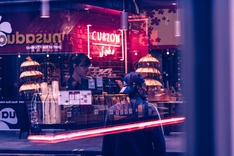 London Cafe Cinema City Curzon Illuminated Neon Reflection Store Store Window Street Streetphotography The Week On EyeEm