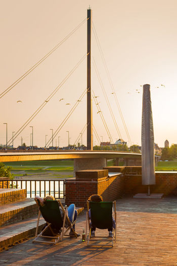 Düsseldorf, Germany Deutschland Düsseldorf NRW Oberkasseler Brücke Architecture Bridge Bridge - Man Made Structure Built Structure Outdoors Real People Sky Tonhalle Transportation Water #urbanana: The Urban Playground Summer In The City