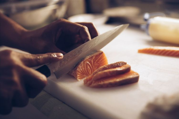 Slicing Salmon. Salmon Sashimi Fresh Dinner Japanese Food