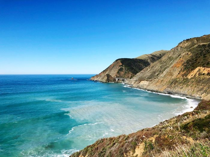 Big Sur Water Sea Sky Beauty In Nature Scenics - Nature Blue Beach Land Tranquil Scene Tranquility Clear Sky Horizon Over Water Horizon Nature Copy Space Day Idyllic No People Sunlight Outdoors
