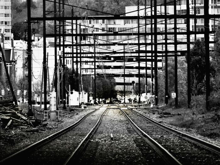 Train tracks Blackandwhite Photography Railroad Tracks Rural America Structures Industrial Landscapes