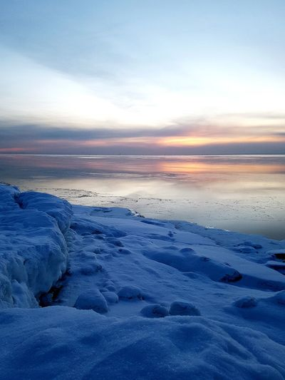 Cold Temperature Frozen Water Snow Sunset Sea Water Winter Beach Polar Climate Ice First Eyeem Photo