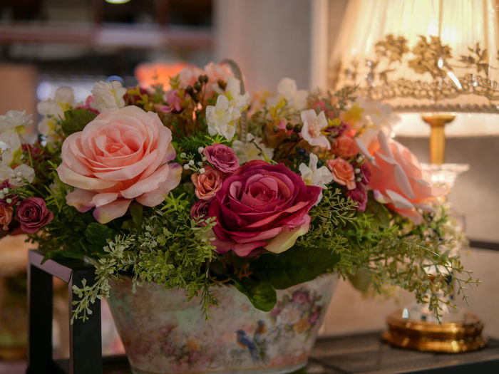 Close-up of bouquet on table at home