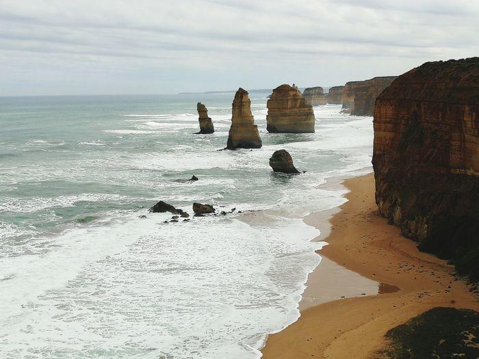Australia Feelit Goodvibes GoodEnergy Sacredplaces Ontheroad 12apostles 12apostoles Water Wave Sea Beach Sand Rock - Object Sky Horizon Over Water