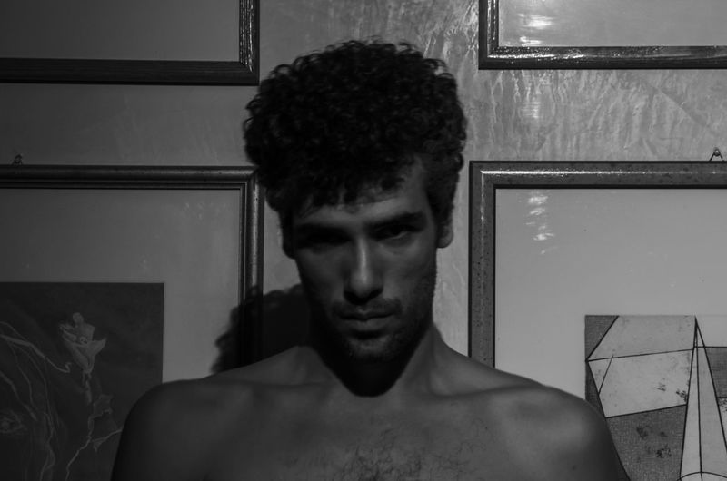 Me... One Person Young Adult Portrait Headshot Shirtless Young Men Indoors  Front View Lifestyles Real People Home Interior Hair Leisure Activity Domestic Room Hairstyle Curly Hair Reflection Adult Chest