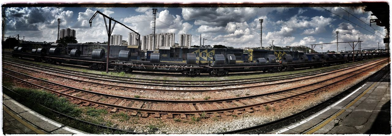 Panoramic shot of train against sky