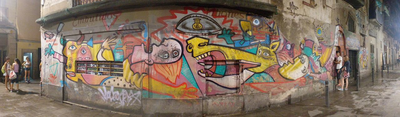 Graffiti Barcelona, Spain Piccasso Guernica Street Night Panorama Multi Colored Street Art Painted Image Creativity Architecture