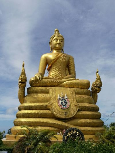 Big Buddha Temple Religion Gold Colored Spirituality Cultures Gold Statue Architecture Place Of Worship Cloud - Sky No People Tree Outdoors Sky Day
