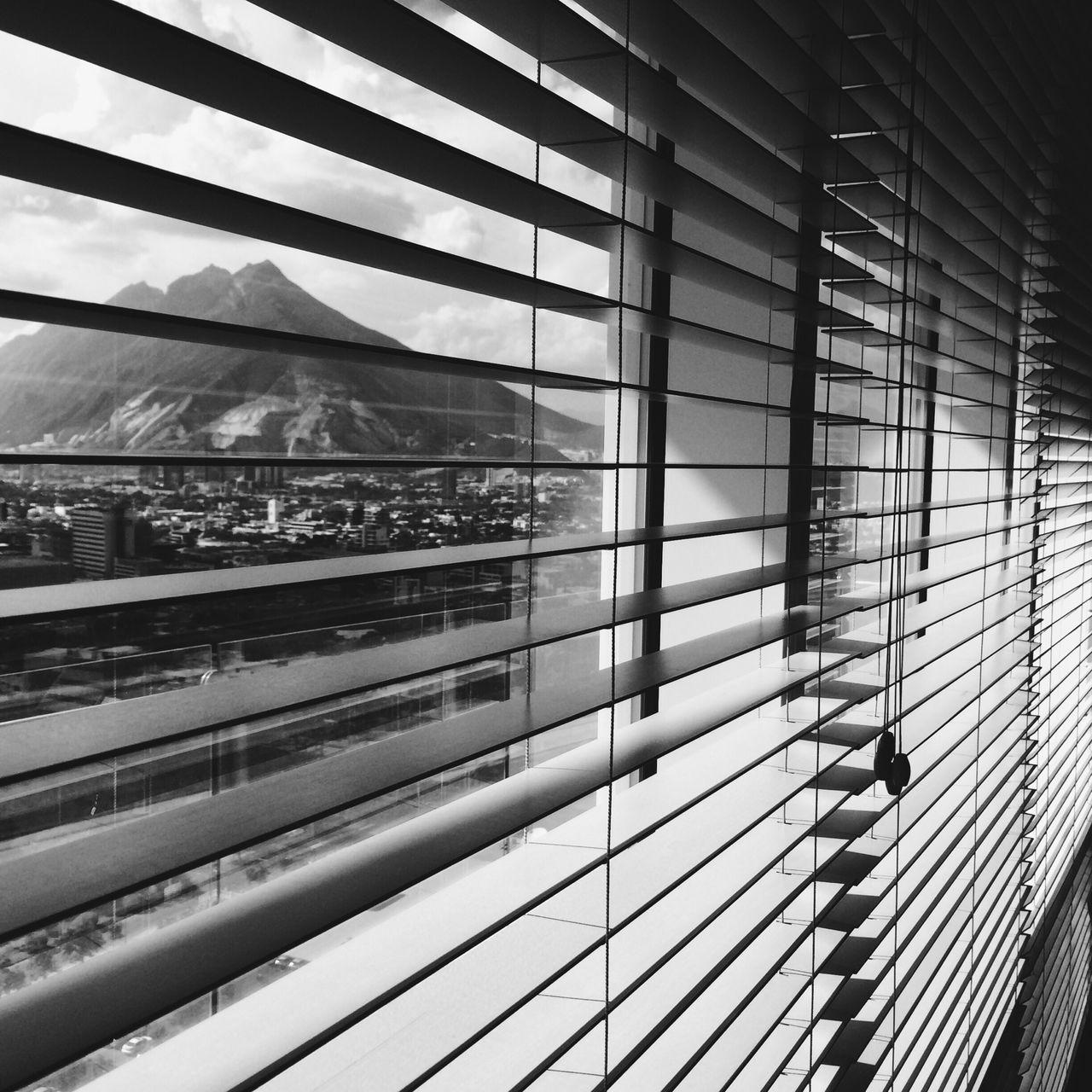 City seen through blinds
