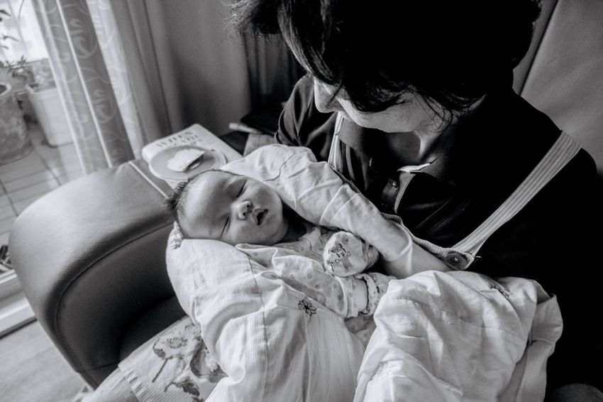 Family Blackandwhite Two People Togetherness Baby Real People Indoors  Childhood Love Bed Lifestyles Fragility Young Women Bonding Women Day Young Adult Human Hand Adult People