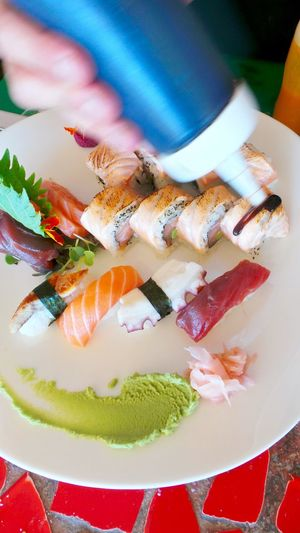 A Bird's Eye View Arty Colorful Colour Of Life Cooked Cooking Decoration Fish Food Food And Drink Freshness Holding Indulgence Making Sushi Meal Multi Colored Raw Ready-to-eat Red Rice Sushi Sushi Time Topping View From Above Working