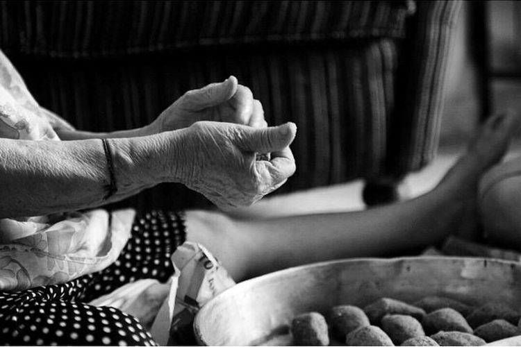 Traditional Food Black & White Grand Mother Raw Meet Eyeemphotography Wrinkles Old Woman Granny Grey Hair