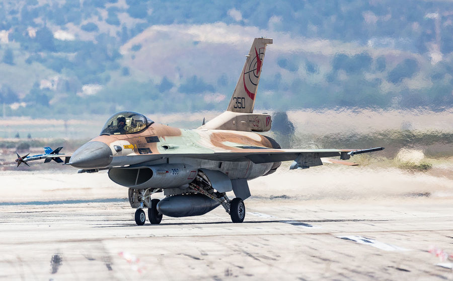 Air Force Air Vehicle Airplane Aviation Blue Sky Day F-16 Fighter Plane Fighting Falcon Flight General Dynamics IAF Israeli Air Force Military Military Airplane Runway Sky Taxiing Transportation