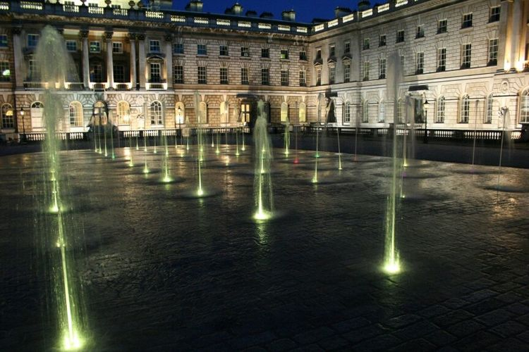 Somerset House by night Tourists London History Fountains Buildings Landmark Architecture