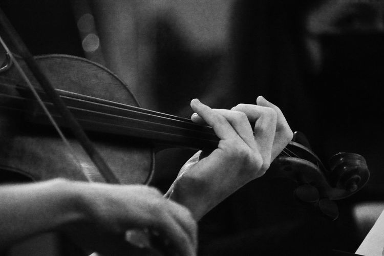 Cropped image of person playing violin