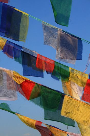 Buddhism Colorful Day Multi Colored Nepal Outdoors Prayer Flags  Sky Travel