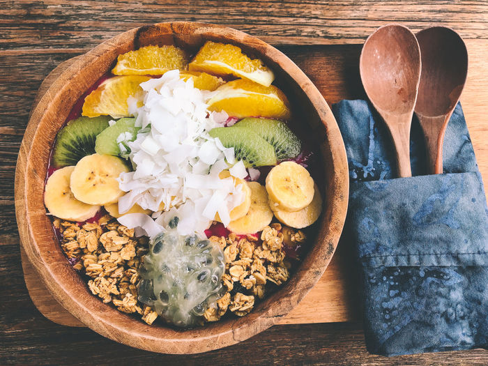 High angle view of smoothie bowl  on table