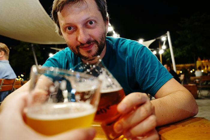 Cheers! Being Lukasz Sitting Drink Table Focus On Foreground Night Celebration Budapest Beer Craft Beer Beer O'clock