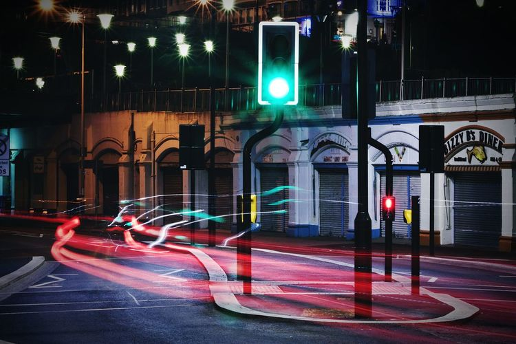 Playing With Light Light Trails Long Exposure Streetphotography Traffic Lights Car Lights Car Light Streak Capturing Movement Dont Cross It This Week On Eyeem