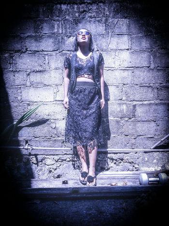 Young Women Full Length Portrait Spraying Beautiful Woman Standing Front View Fashion Wet Drop