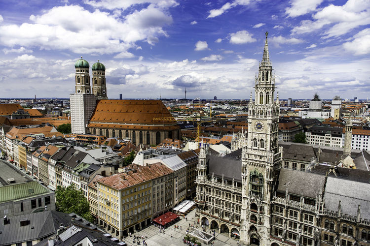 Architecture Building Exterior Built Structure Capital Cities  City City Life Cityscape Cloud Cloud - Sky Cloudy Day Munich No People Outdoors Residential Building Residential District Residential Structure Sky Tall - High Tourism Tower Town TOWNSCAPE Travel Destinations