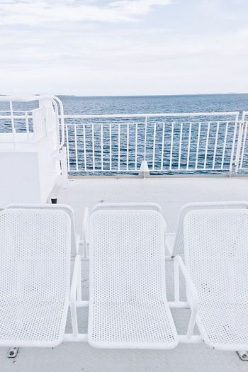 on the deck Boat Ship Deck Deckchairs Deck Chair Decks Sea Ocean White Chairs White Color White Album WhiteCollection On The Boat On The Sea