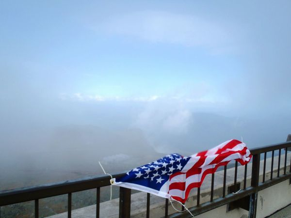 Mount Washington Observatory, New Hampshire, September 11, 2011 Mount Washington  Mountain Top New Hampshire In The Clouds American Flag Mountain Summit Looking Into The Future Through The Clouds Remembrance White Mountains Mountain View Flags In The Wind  Flags Copy Space
