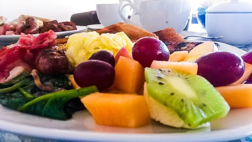 Fruit Food Food And Drink Kiwi - Fruit Variation Healthy Eating Freshness Close-up Day Ready-to-eat Pineapple Kiwi Fruit Salad Grapes Melon Spinach Mushrooms Toasted Bread Breakfast Plate Eggs... Sausage Freshness Food And Drink Plate