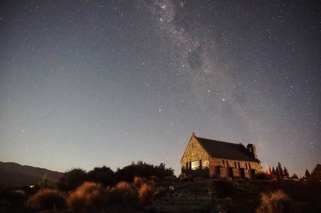 Tekapo Travel Destinations Awesome Nightphotography Astrophotography New Zealand Religion Check This Out Church Night Star - Space Architecture Built Structure Building Exterior Astronomy No People Sky Star Field Galaxy Low Angle View Outdoors Beauty In Nature Milky Way Nature Starry Constellation Space Tree
