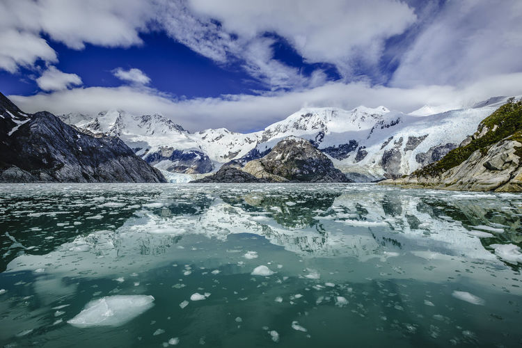 Chile Ice Beauty In Nature Blue Sky And Clouds Cloud - Sky Cold Temperature Environment Glacier Ice Iceberg Magellan Mountain Range Nature No People Outdoors Scenics - Nature Sea Snow Snowcapped Mountain South America Tranquil Scene Tranquility Water Waterfront Winter