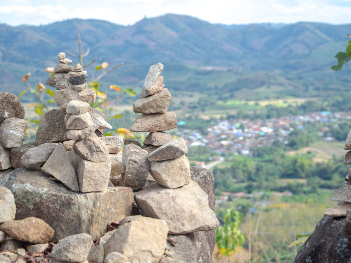 Stack of rocks on mountain