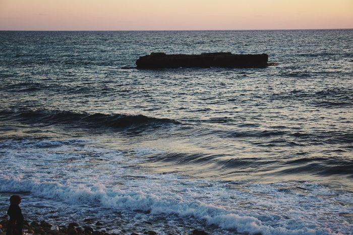 Sea Horizon Over Water Water Sunset Nature Beach Wave Rock - Object Beauty In Nature Scenics One Person Silouette Tranquility Sky Outdoors Clear Sky Day East Mediterranean Lebanon