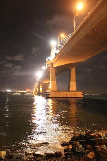 Mactan Bridge EyeEmNewHere Light Night Illuminated Sea Light Beam No People Outdoors Transportation An Eye For Travel