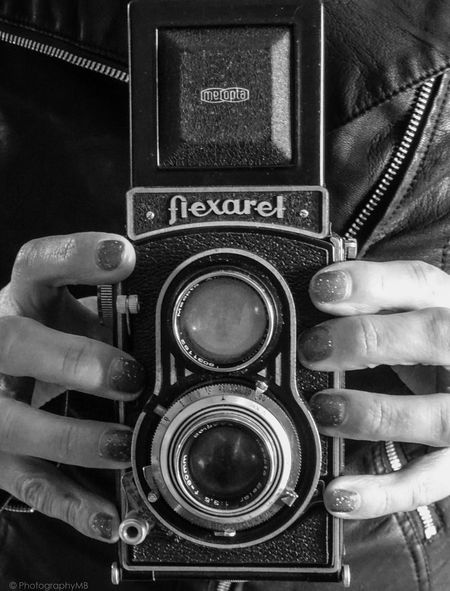 Classic Twin-lens Camera Antique Black And White Blackandwhite Camera Classic Close-up Flexaret Leather Man Made Object Memories Monochrome Old-fashioned Technology The Past Twin Lens Reflex