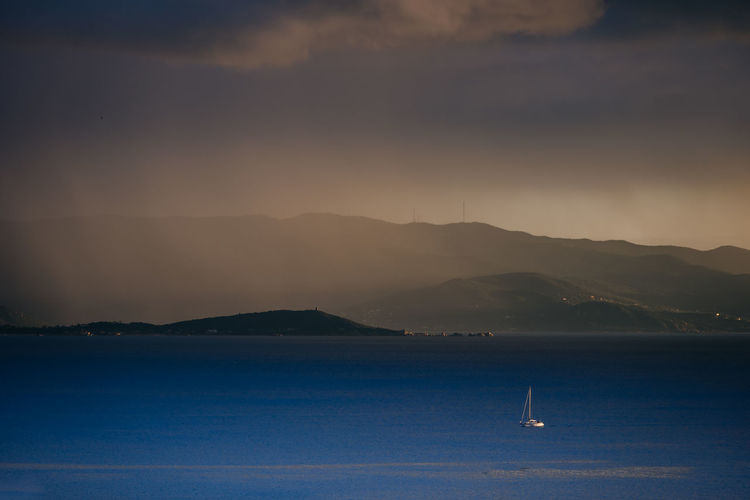 Water Scenics - Nature Nautical Vessel Beauty In Nature Sky Sea Mode Of Transportation Tranquil Scene Non-urban Scene Tranquility No People Nature Waterfront Outdoors Sailboat Ajaccio Golfe D'Ajaccio Pluie ☔ Voilier Orage