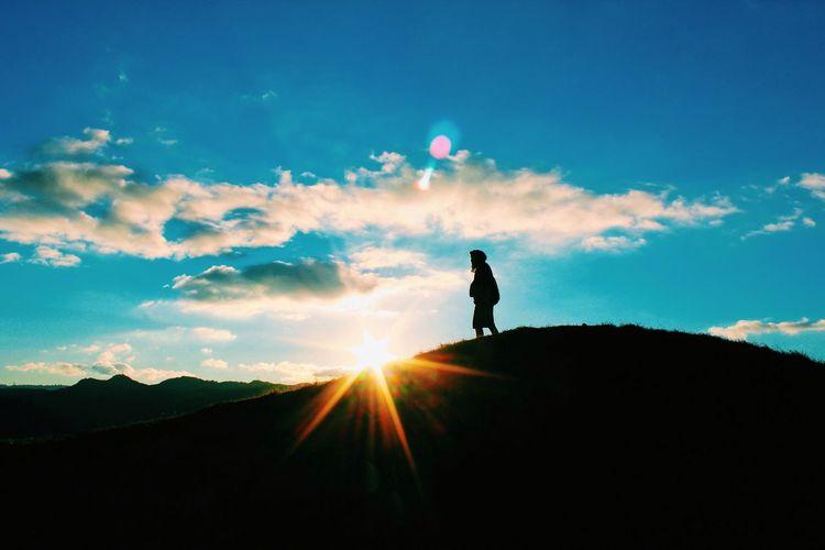 Sun Silhouette Blue Sky Shine Clouds And Sky Landscape