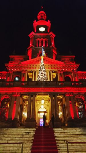 Red Architecture Travel Destinations Façade Government City Archival No People Illuminated Night Sky Outdoors