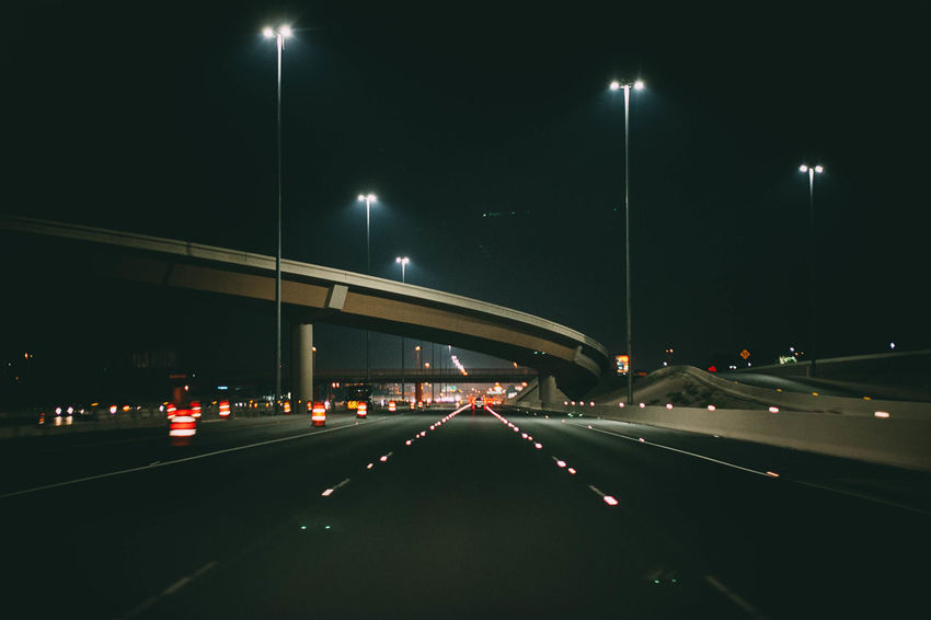 Night Transportation Illuminated Road Car Traffic Street Light Highway Bridge - Man Made Structure Mode Of Transport Light Trail No People Architecture Land Vehicle Built Structure City Outdoors Sky Politics And Government Photographerinlasvegas Evanscsmith Architecture Adventures In The City